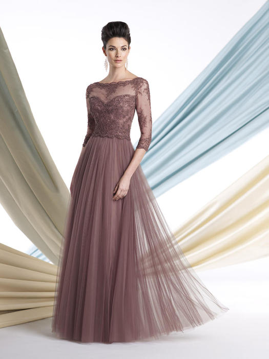 Mon Cheri - 3/4 Sleeve Embroidered Chiffon Illusion Gown