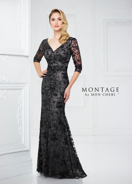 Mon Cheri - Metallic Embroidered 3/4 Sleeves Sheath