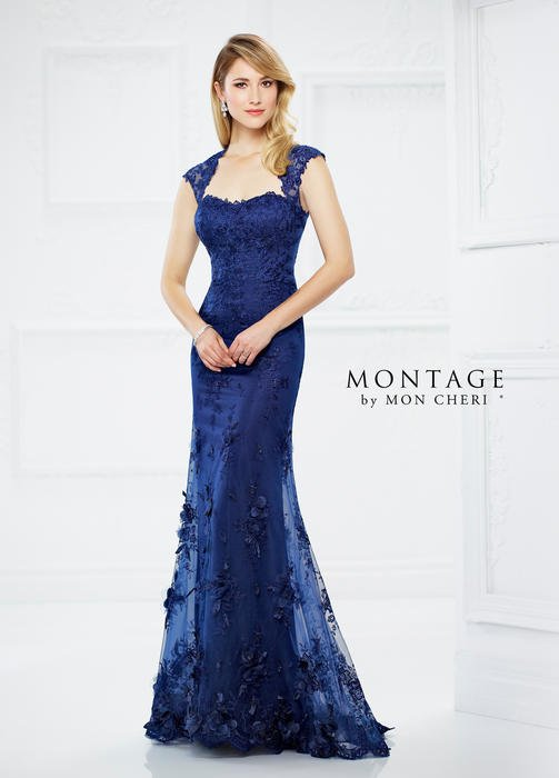 Mon Cheri - Queen Anne Neckline Lace Gown