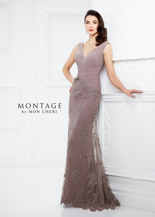 Mon Cheri - Chiffon Pleated Bodice Lace Gown