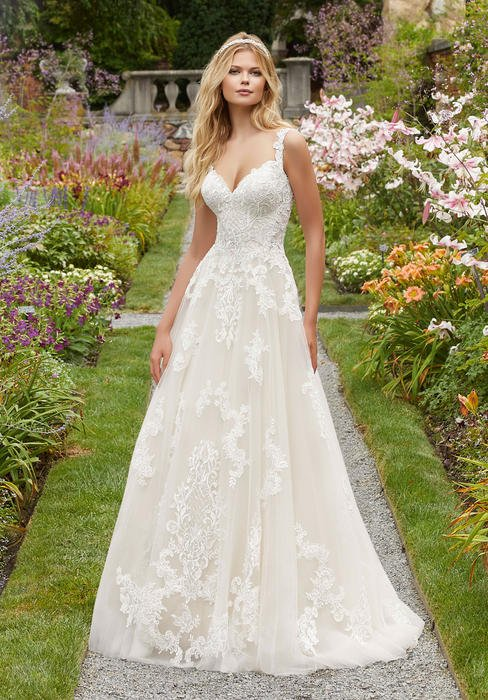 Morilee - V-Neck Lace A-Line Bridal Gown