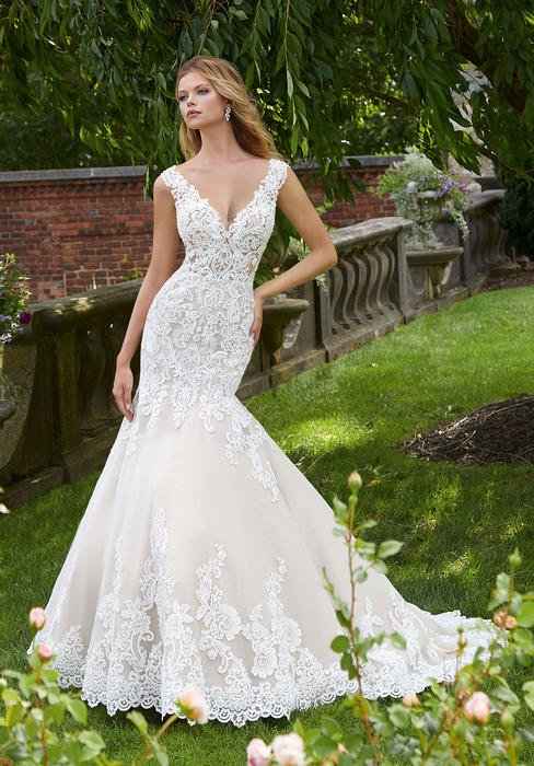 Morilee - V-Neck Sheath Lace Bridal Gown