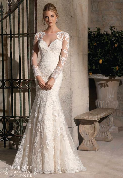 Morilee - Long-Sleeved Embroidered Illusion Sheath