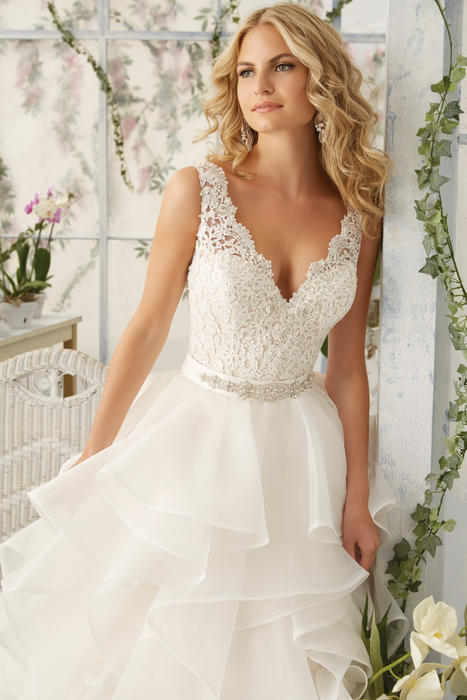 Morilee - V-Neck Lace Bodice Ball Gown