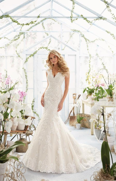 Morilee - Embroidered Organza V-Neck Bridal Gown