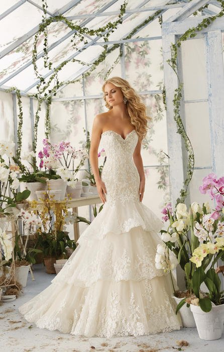 Morilee - Strapless Embroidered Tiered Tulle Sweetheart