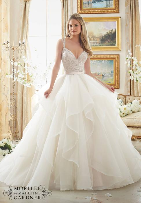 Morilee - Embroidered Organza V-Neck Ball Gown