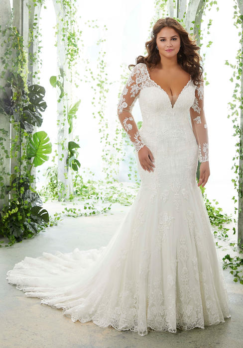 Morilee - Long Sleeve V-Neck Lace Bridal Gown