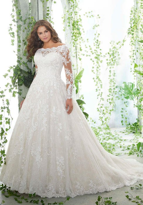 Morilee - Off-Shoulder Long Sleeve Lace Bridal Gown