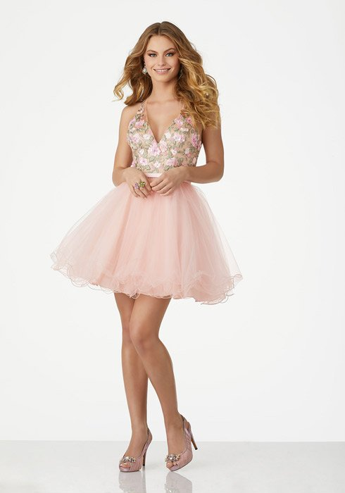 Morilee - Tulle Dress Embroidered Bodice Halter Neck