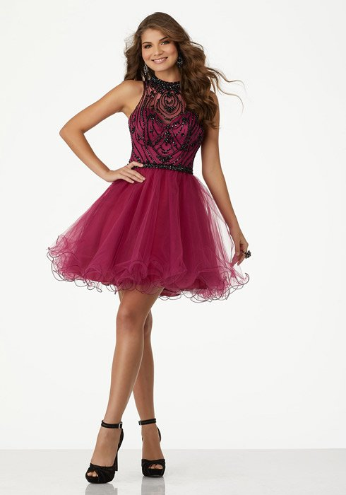 Morilee - Illusion Beaded Bodice Tulle Dress