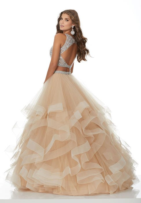 Morilee - Two Piece Beaded Top Tulle Ruffle Skirt