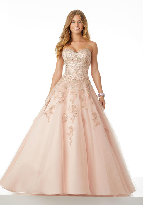 Morilee - Strapless Beaded Bodice Tulle Ball Gown