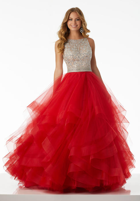 Morilee - Beaded Bodice Tulle Ruffle Gown