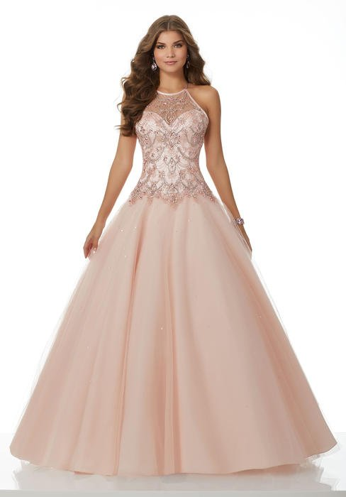 Morilee - Beaded Halter Neck Tulle Ball Gown