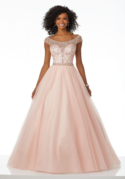 Morilee - Off Shoulder Beaded Bodice Tulle Gown