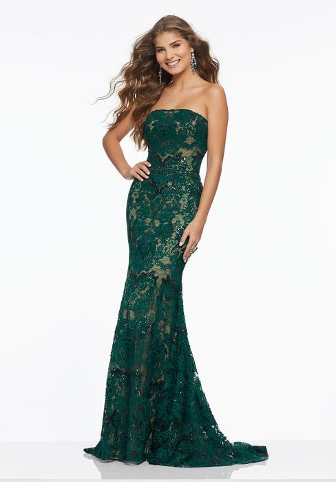 Morilee - Embroidered Lace Strapless Gown