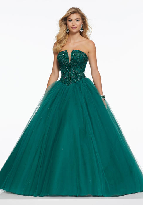 Morilee - Deep V-Neckline Beaded Strapless Tulle Ball Gown