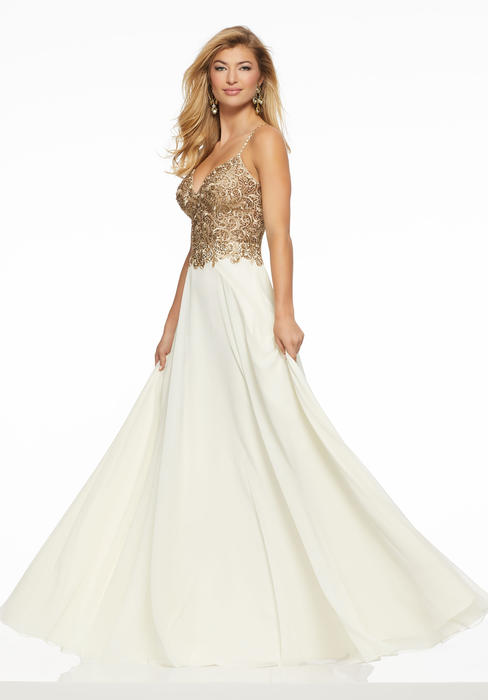 Morilee - Beaded Embroidered Bodice Chiffon Gown