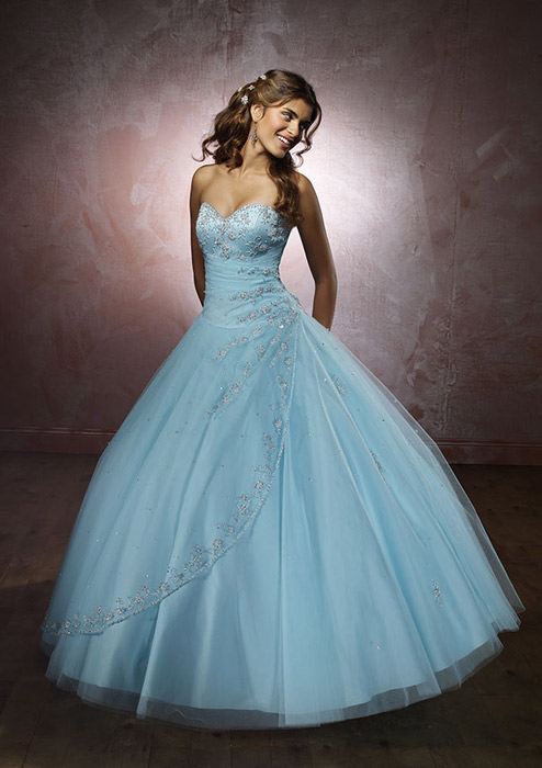 Morilee - Strapless Embroidered Tulle Ball Gown
