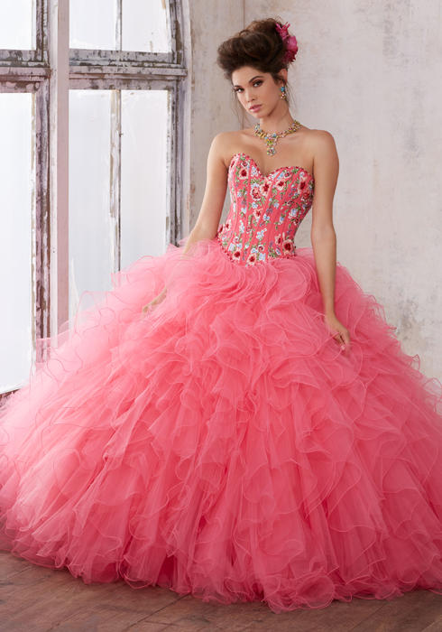 Morilee - Embroidered Corset Ruffled Tulle Ball Gown N/O