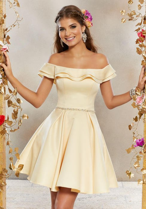 Morilee - Satin Dress Off The Shoulder Ruffle Bodice