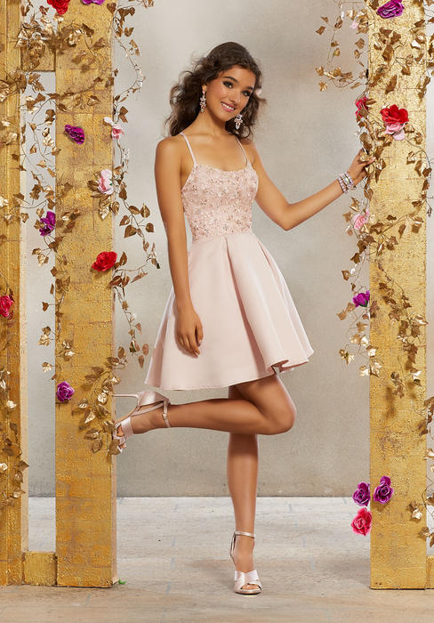 Morilee - Satin Dress Embroidered Bodice Tie Up Back