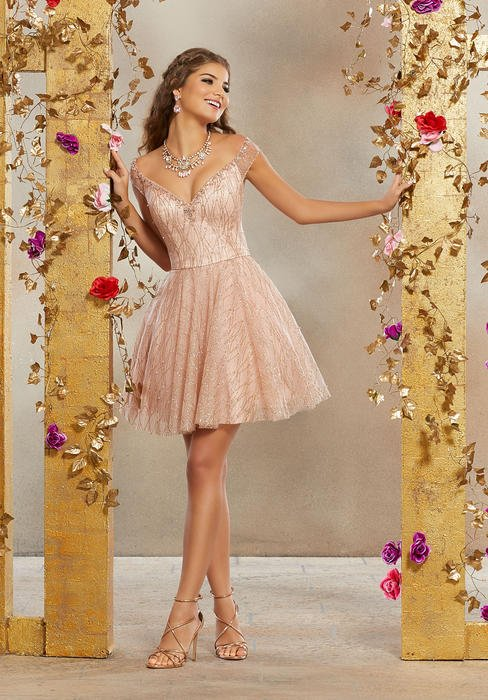 Morilee - Glitter Tulle Dress Off The Shoulder Beaded Neck