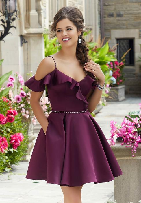 Morilee - Satin Fit And Flare Dress Cold Shoulder