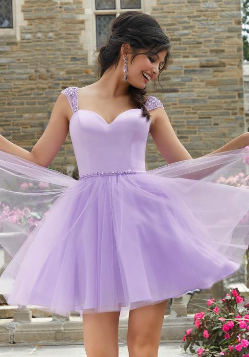 Morilee - Fit And Flare Satin Tulle Dress