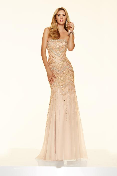 Morilee - Strapless Beaded Net Sheath Gown