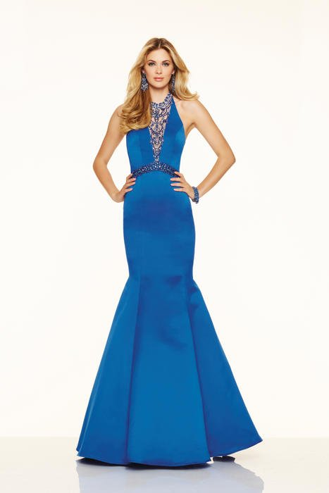 Morilee - Beaded Halter Satin Mermaid Gown