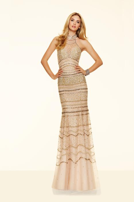 Morilee - Beaded Net High Neck Sheath
