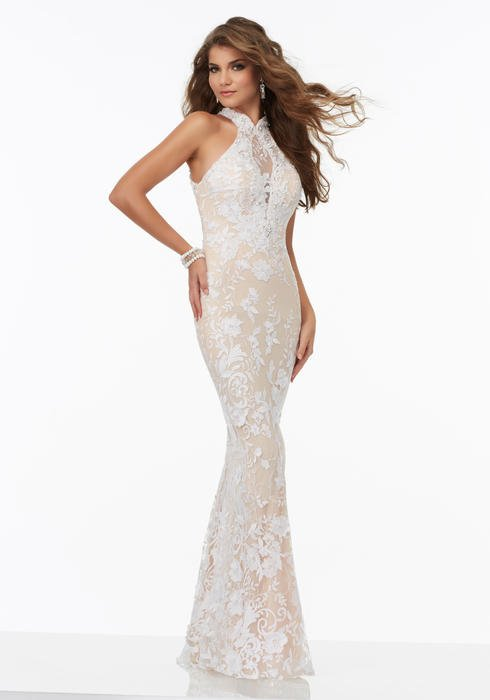 Morilee - Halter Neck Lace Sheath Gown