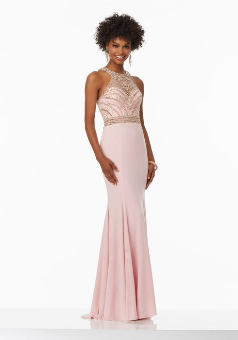 Morilee - Beaded High Neck Jersey Sheath Gown
