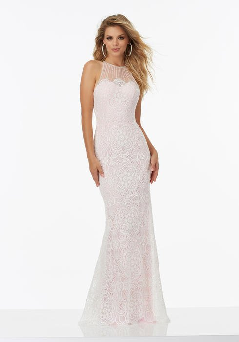 Morilee - Long Lace Illusion Sheath Gown