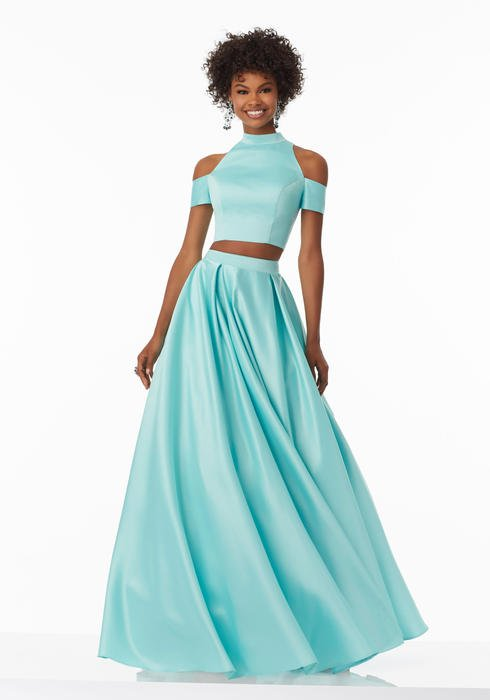 Morilee - Cold Shoulder Satin A-Line Two Piece Gown