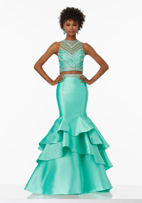 Morilee - Beaded Satin Tiered Mermaid Gown