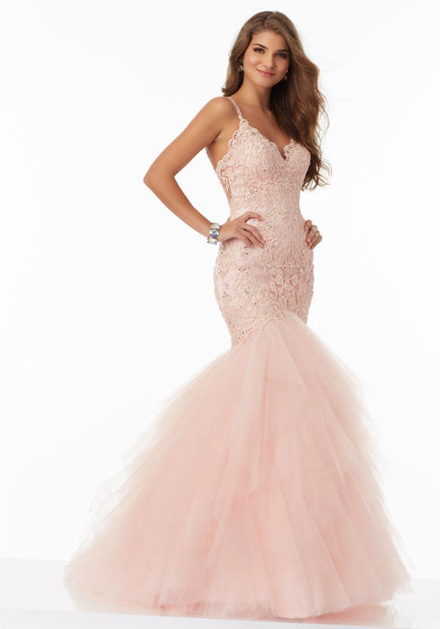 Morilee - Spaghetti Strap Embroidered Tulle Mermaid Gown