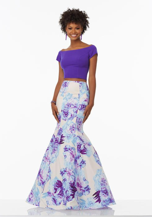 Morilee - Floral Print Taffeta Two-Piece Mermaid Gown