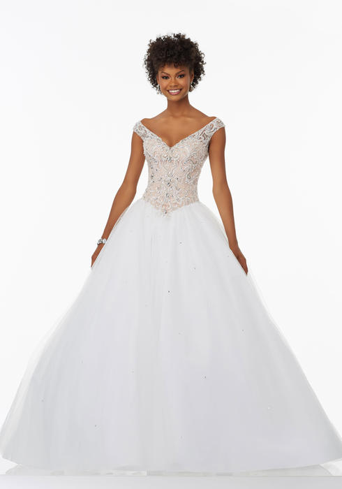Morilee - Embellished V-Neck Tulle Ball Gown