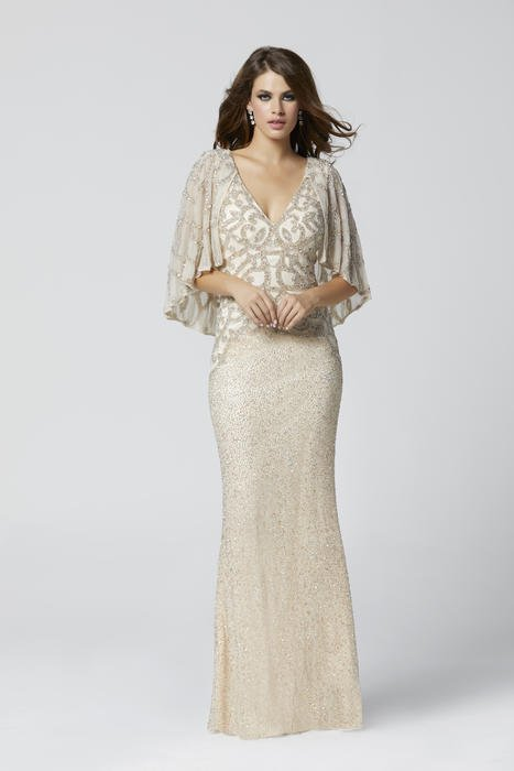 Primavera Couture - Mesh Bead Gown-Back Cape