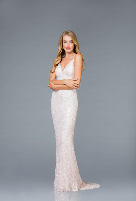 Scala - Beaded Paisley Print Gown