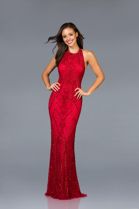 Scala - Beaded Halter Neck Open Back Sheath Gown