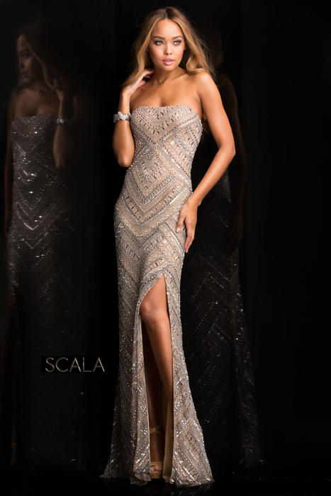 Scala - Strapless Beaded Sheath with Side Slit