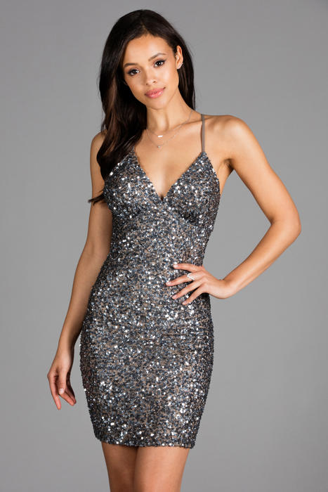 Scala - Sequined V-Neck Spaghetti Strap Open Back Dress