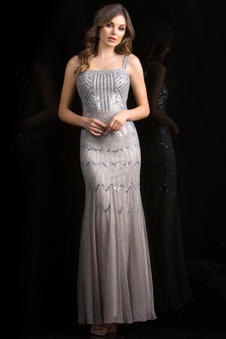 Scala - Beaded Sleeveless Straight Neck Gown