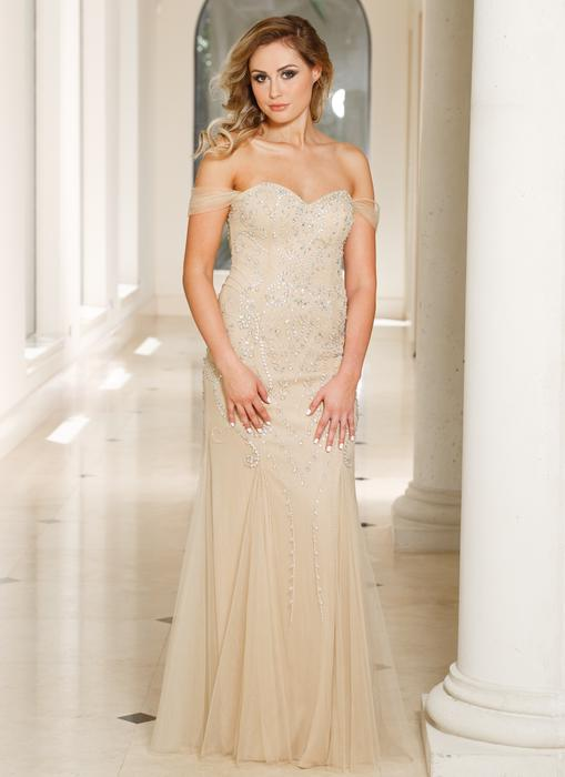 Sean Collection - Beaded Off-The-Shoulder Sweetheart