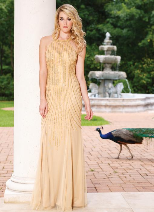 Sean Collection - Beaded High Neck Open Back