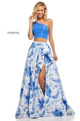 52617 Blue/Ivory Print front